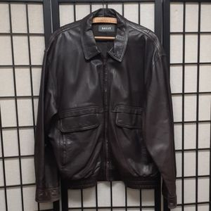 Classic Brown Bally leather bomber jacket 40 SIC